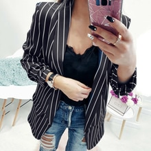 New Blazer Women Stripe Suits Sexy Cardigan Long Sleeve Women Blazers And Jackets Autumn Winter Coat