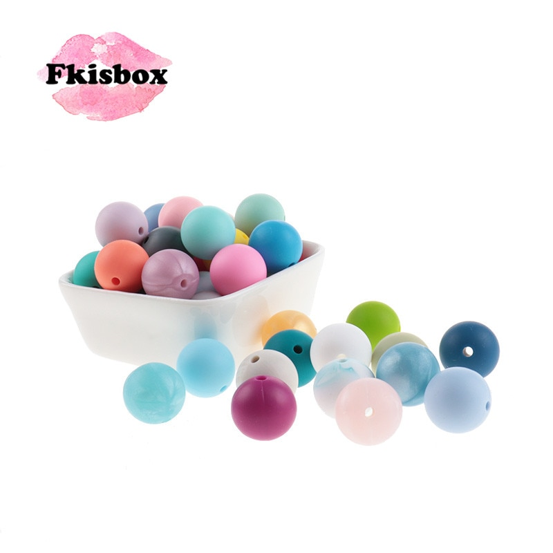 Fkisbox 500pcs 12mm Silicone Round Loose Beads Baby Teether BPA Free Pacifier Chain Accessories Tooth Nurse Chewable Gift DIY