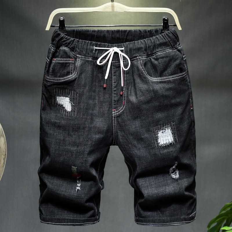 Plus Size 6XL 7XL 9XL 10XL Men's Ripped Loose Denim Shorts 2021 Summer New Black Blue Drawstring Short Jeans Male Brand Clothes