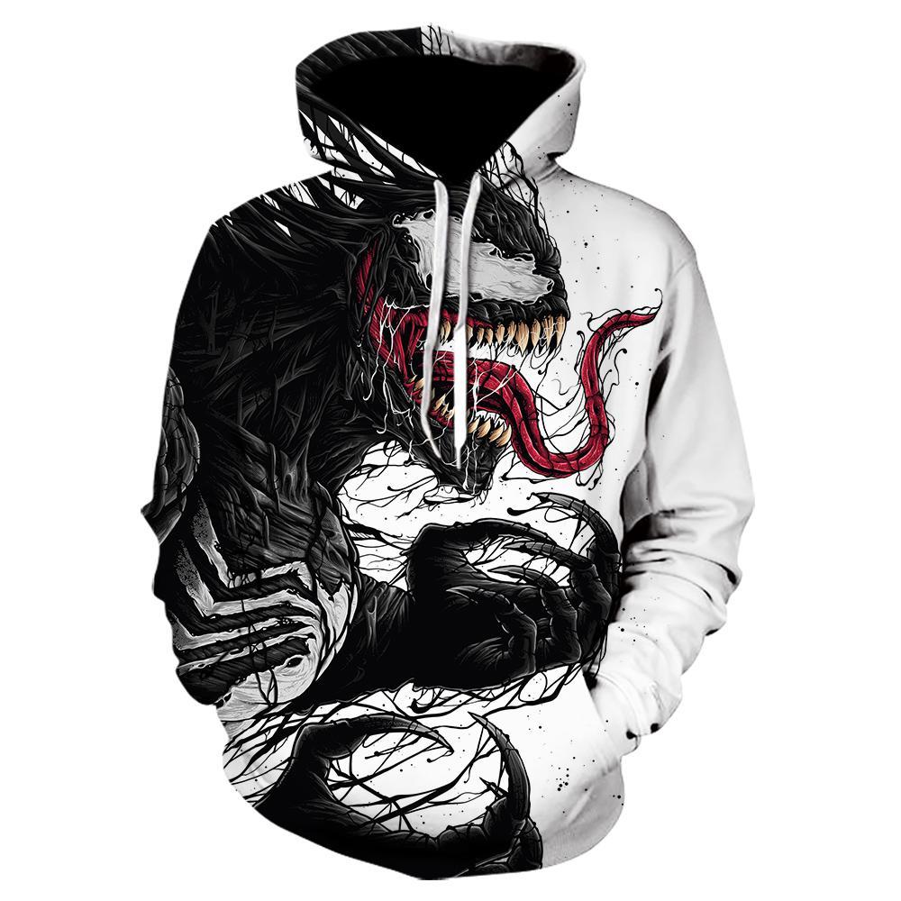 New off white 3d venom hoodie hot Movie Skull Printed mens clothes autumn winter Hoodies Sweatshirts Men Women Pullover Jackets