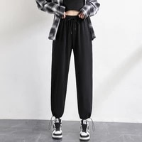 black gray cotton trousers for female summer breathable long sweetpants plus size leisure poket sports harlan pants