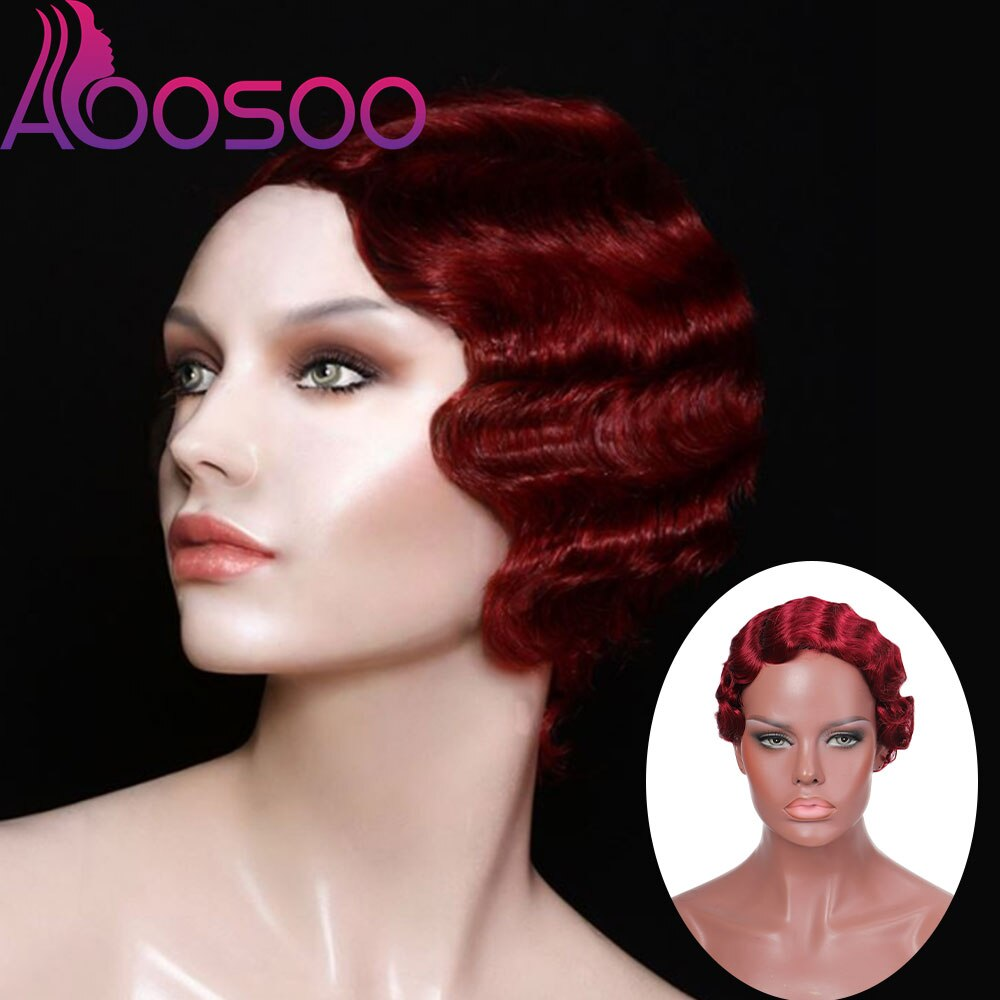 Short Finger Wavy Wig Curly Black Cute Nuna Wig Real Retro African Black Wigs for Women Mommy Wig Is Curly Short Wig Looks Natur