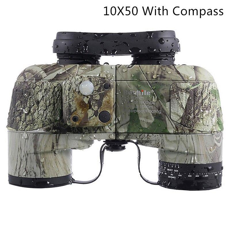 Boshile-prismáticos 10X50, profesionales, militares, marinos, impermeables, telescopio HD BAK4, telémetro para distancia, caza, navegación, color