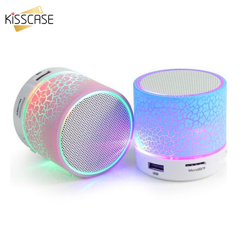 KISSCASE Mini altavoz inalámbrico portátil Bluetooth grieta LED USB Radio FM MP3 altavoz de sonido estéreo para ordenador teléfono móvil