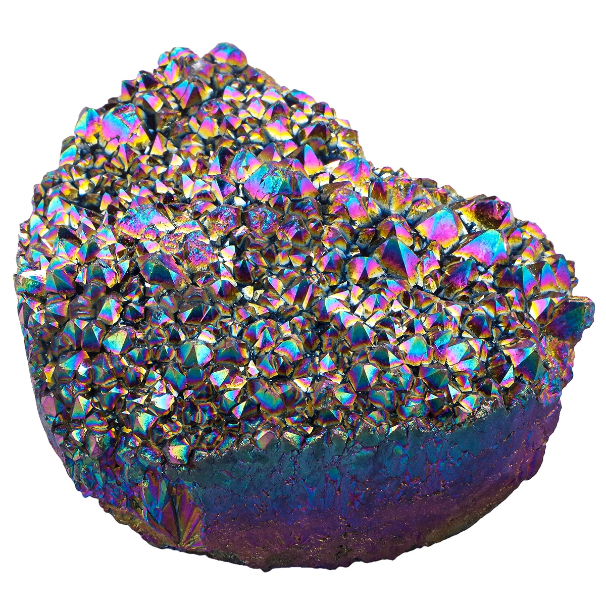 TUMBEELLUWA Rainbow Titanium Coated Natural Crystal Quartz Cluster Geode Heart Shape Stone Figurine for Reiki Healing Home Decor недорого
