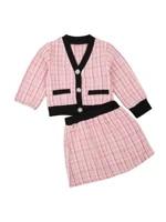 3m 5t newborn baby girls elegant outfit plaid v neck long sleeves cardigan high waist skirt set for girls autumn spring set