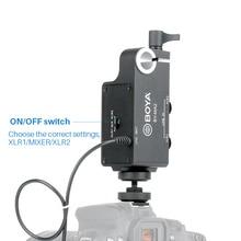 BOYA BY-MA2 de doble canal de Audio XLR mezclador con entrada de 6,35mm Jack de 3,5mm para Canon Nikon DSLR videocámaras SISTEMA DE MICRÓFONO INALÁMBRICO