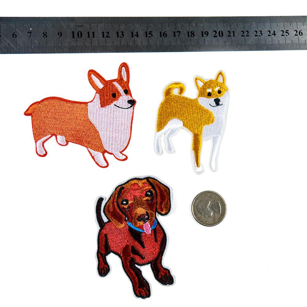 3 tipos de lindos parches con figuras de perros de Shiba de sésamo de Corgi, parches de ropa de bebé, mochila embellecida, ropa de niña, parches bordados de Jeans