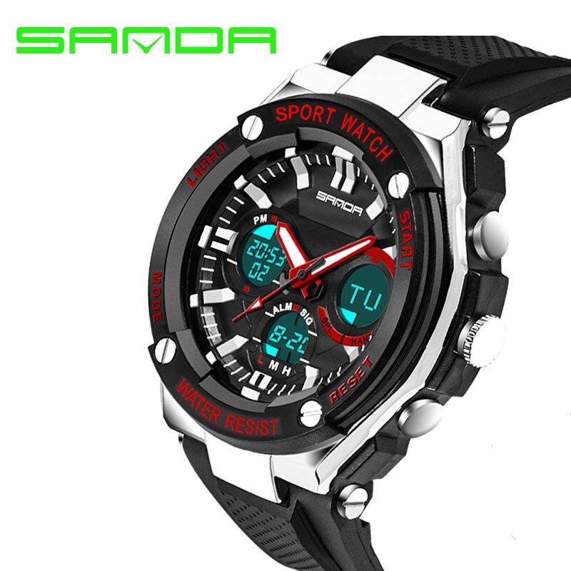 SANDA Mode Sport Uhren Männer Uhren Wasserdicht Quarz Led-anzeige Analog Digital Armbanduhren Mann Uhr relogio masculino