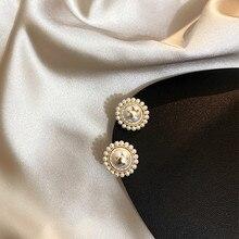 2020 New Arrival  Round Pearl Women Classic  Stud Earrings Style  Earrings Retro Earrings Female Simple Elegant Jewelry