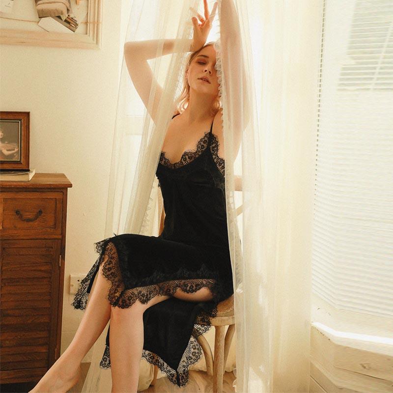 Camisón de terciopelo dorado Caiyier 2020 con escote en V profundo y bordado de encaje Sexy, camisón largo de lencería tentación para mujer