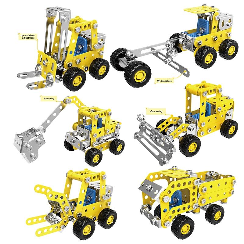 Metal Building Block Engineering Bulldozer Crane Technic Truck Blocks Construction Vehicle Educational Toy For Children недорого