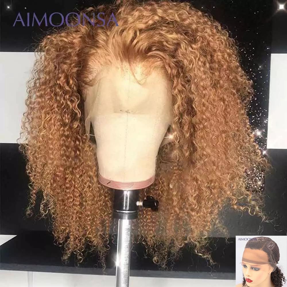 شعر مستعار منغولي طبيعي ، شعر بشري مجعد ، أفرو ، اكتساح بني وشقراء ، 13 × 6 6 × 1 ، شعر ريمي ، كثافة 180 ، للنساء