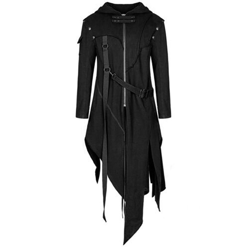 Chaqueta gótica Steampunk del siglo XVIII para hombre, chaqueta Medieval de otoño e invierno, traje de chaqueta para hombre, chaqueta negra de talla grande 5XL