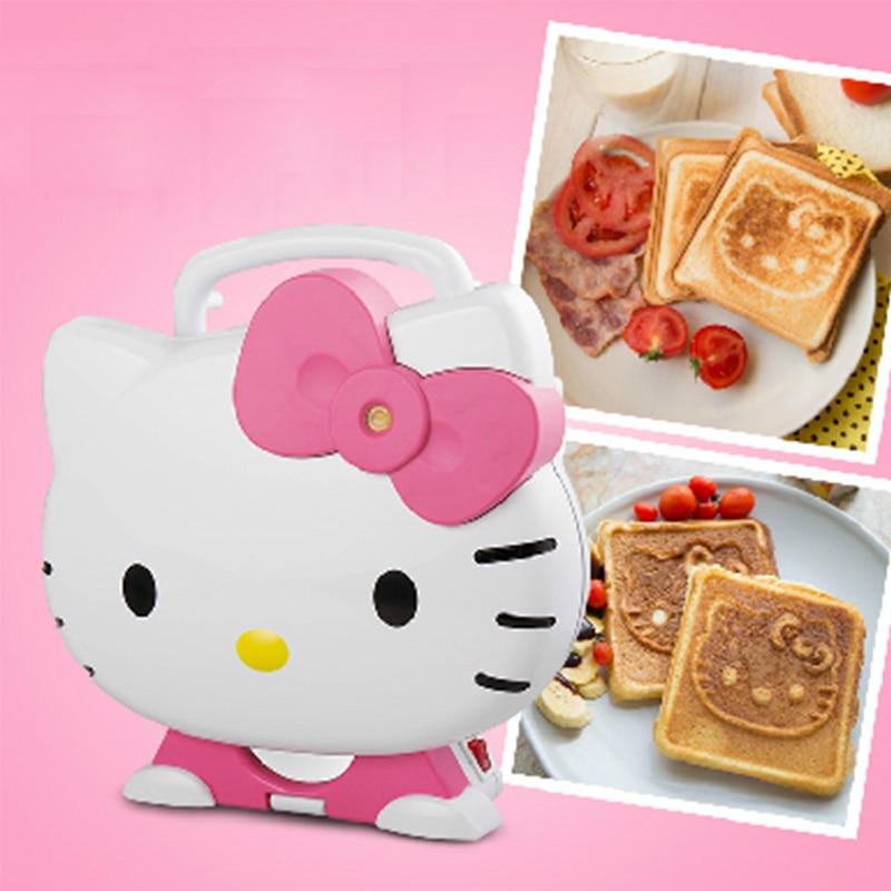 Тостер для завтрака с мультяшным котом, 220-240 В, 750 Вт, машина для горячего прессования, хлебопечки с 2 ломтиками и антипригарным покрытием, уст...