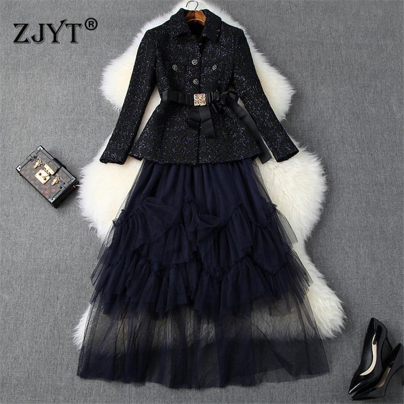 High Quality Fall Winter Designers Runway Skirt 2piece Set Women Fashion Long Sleeve Tweed Jacket Coat+Long Tulle Skirt Suit Set