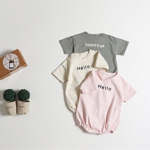 Bebê menina roupas de verão nova boa qualidade algodão crianças carta macacão do bebê meninos playsuit para recém-nascido