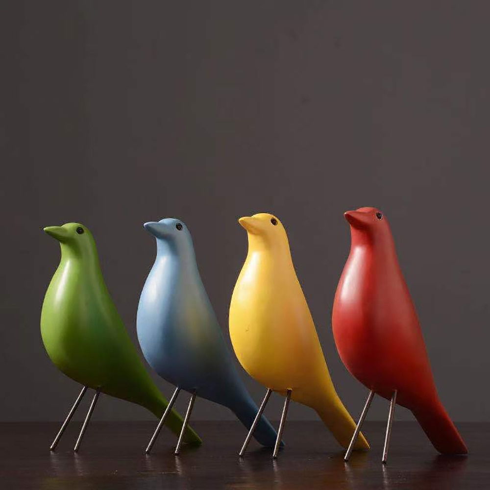 Modern Minimalist Color Black And White Bird Decoration Resin Creative Office Living Room Model Home Soft Decorations