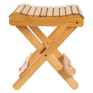 10.23 Inch Bamboo Folding Stool,Portable Wooden Shower Chair Shower Foot Rest Stool For Adults Kids Disabled Women Elderly