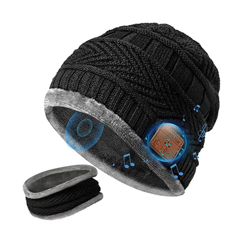 Bluetooth Beanie with Scarf Bluetooth Rechargeable Knit Cap with Wireless Hands Free Head Hat Christmas Gift for Men and Women