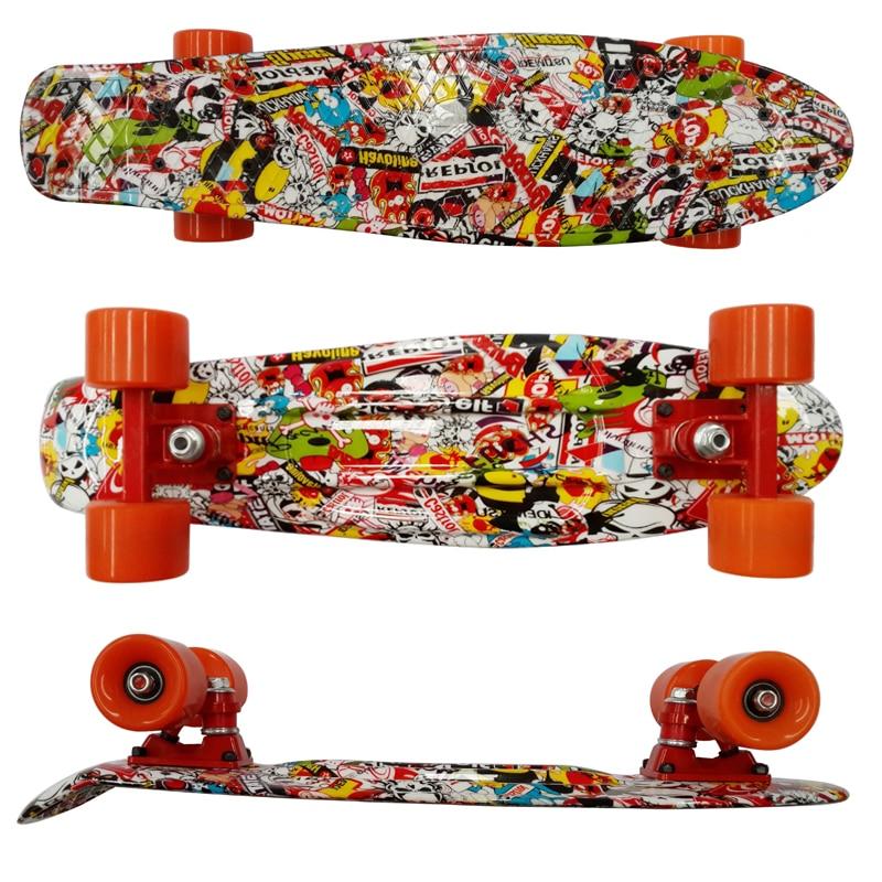 printio skateboard skull 22'' Fish Skateboard Big Skull Series Retro Printed Skate Board Mini Cruiser Skateboard Banana Penny Board Men Drift Fish Board