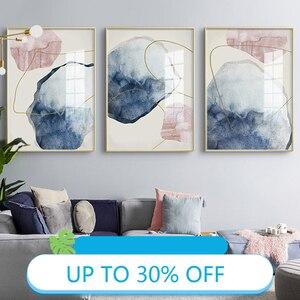 Canvas Painting Posters Rosa Und Blau Im Skandinavischen Stil Wall Art Picture Decorativos Home Decor