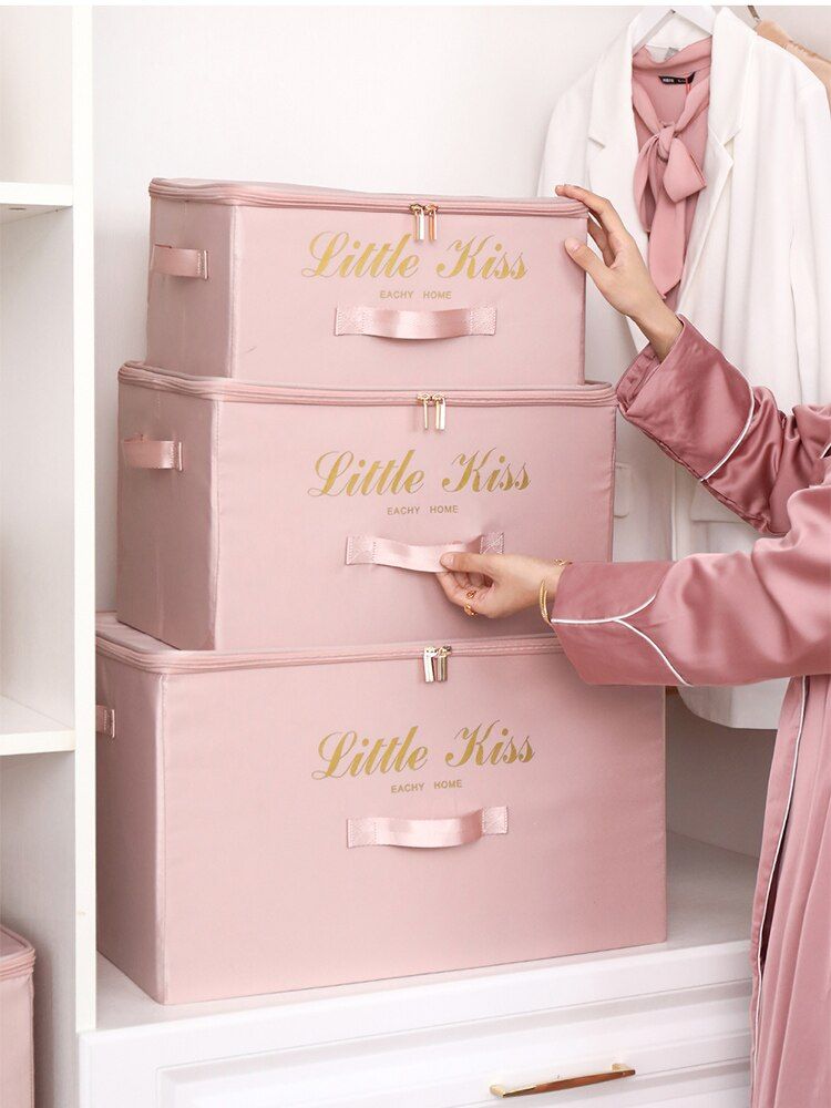 Clothes Quilt Storage Box Organizer Household Large Wardrobe Foldable Satin Fabric Storage Box Home Large Item Organizer