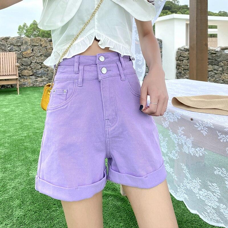 Roxo denim jeans curto feminino cintura alta calça jeans feminina perna larga verão vintage casual estiramento solto shorts jeans senhoras