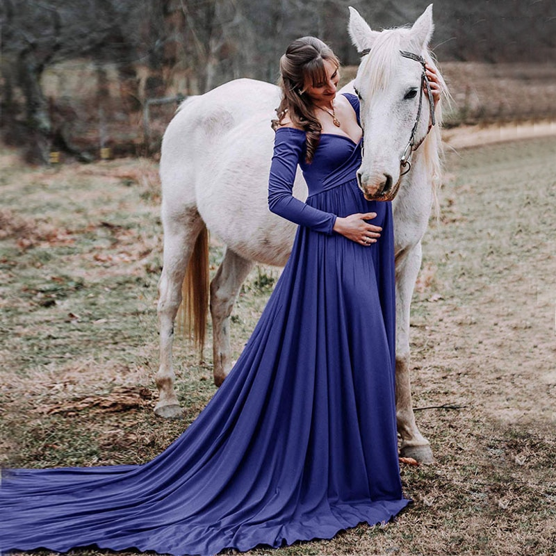 Long Tail Maternity Dresses for Photo Shoot Maternity Photography Props Maxi Dresses for Pregnant Women Clothes Pregnancy Dress