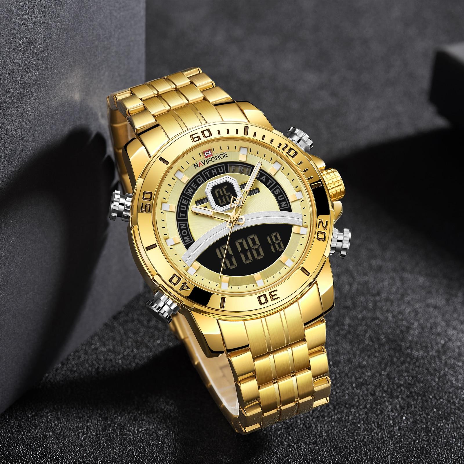 NAVIFORCE-ساعة رجالية ذهبية ، ساعة رياضية عصرية من الفولاذ المقاوم للصدأ ، ساعة توقيت ، كرونوغراف رقمي ، مقاومة للماء
