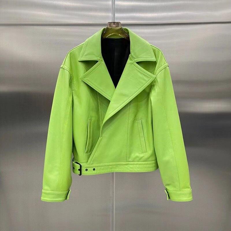 ربيع وخريف 2021 جديد وصول قصيرة طول ملابس كاجوال مع حزام سترة جلدية حقيقية قطرة الكتف سبعة اللون