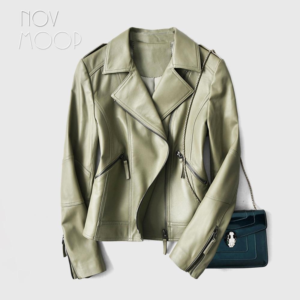 Novmoop-Chaqueta de piel de oveja auténtica para mujer, chaqueta de estilo de...