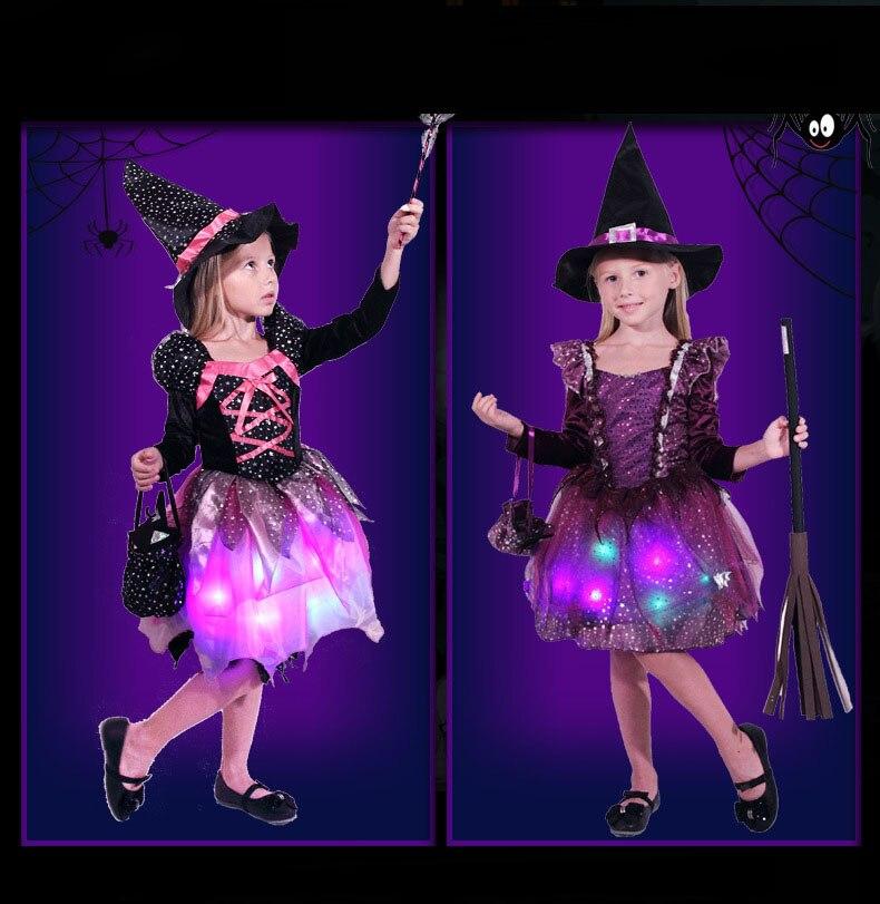 Menina crianças luz led bruxa traje crianças cosplay vestido brilhante carnaval festa de aniversário purim halloween traje para crianças