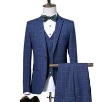 pants vest sets 2021 spring autumn new fashion suits mens casual business plaid 3 piece suit jacket coat trousers