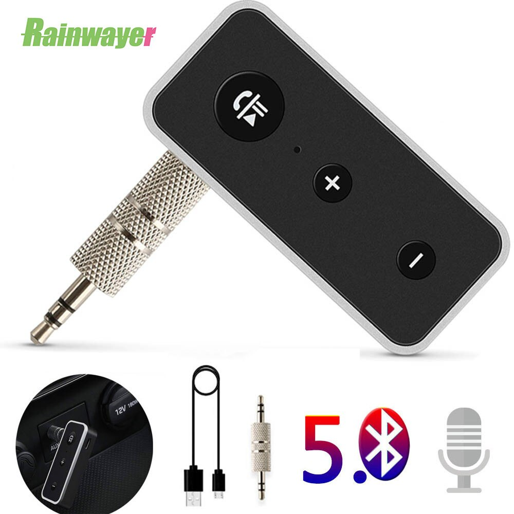 Drahtlose Bluetooth 5,0 Empfänger Auto Kit Stereo Musik 3,5mm AUX Audio Adapter Mit Mic Für Kopfhörer Lautsprecher Auto kits