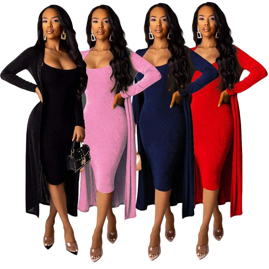 Hiver femmes ensemble sans manches sangle robe + à manches longues longue Cape boîte de nuit survêtements deux pièces costume rue Sexy pansement YM-8520