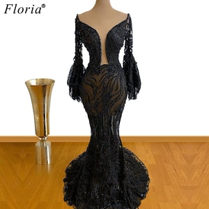Plus Size Black Lace Evening Dresses Mermaid Beads Formal Evening Gowns Women Illusion Prom Dresses Party Vestidos Elegantes