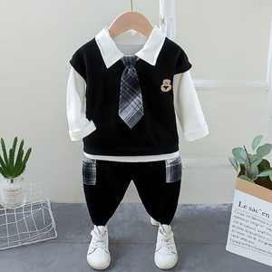 Children's Clothes Set 2020 Autumn Spring Boys Long-sleeved Tie Tracksuit 1-5Years Old Baby Boys T-shirts + Pants Outfit Suit