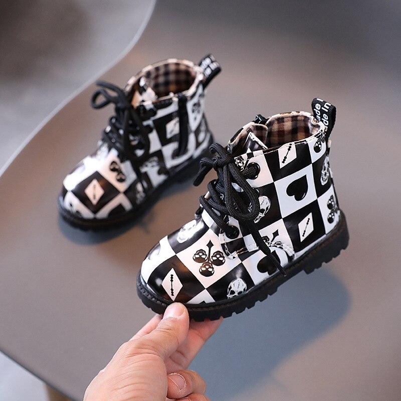 menina pu couro martin botas a prova dwaterproof agua sapatos moda floral padrao