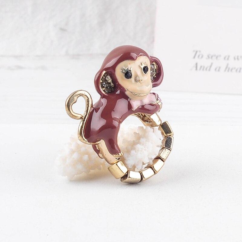 Anillo de mono esmaltado rojo en Color dorado Vintage étnico para mujer, regalo de cita hecho a mano, joyería al por mayor