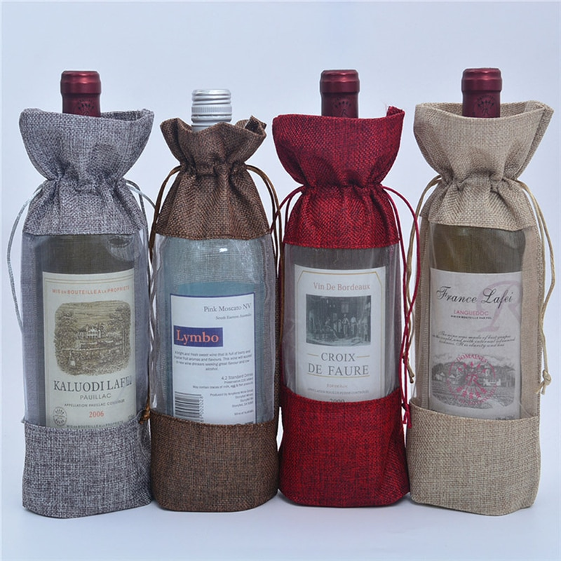 Bolsa de empaquetado de vino roja ropa de lino boca de una botella champaña vino tinto bolsa de almacenamiento decoración de boda Bolsa de vino