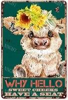Citation drole de salle de bain en metal  signe en etain  decor mural Vintage bonjour joues douces vache