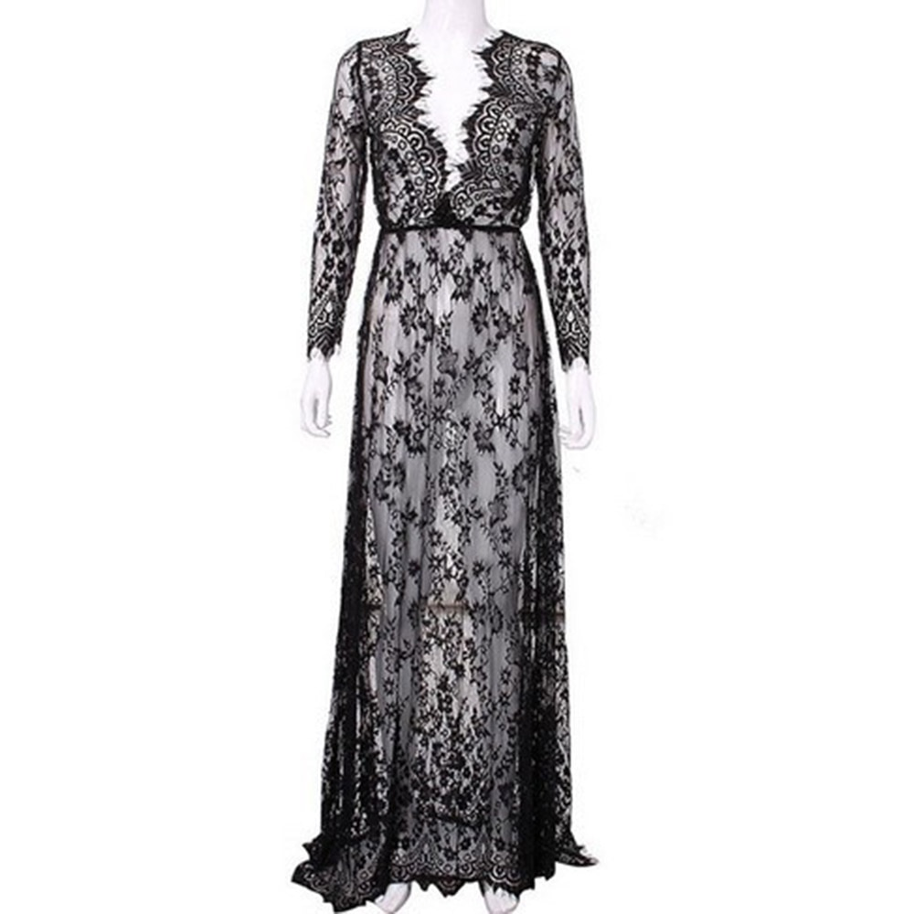 AliExpress - Womens Long Dress Flower Pattern Lace Maternity Evening Photography Dress Party Prom See-through Dresses Plus Size vestido