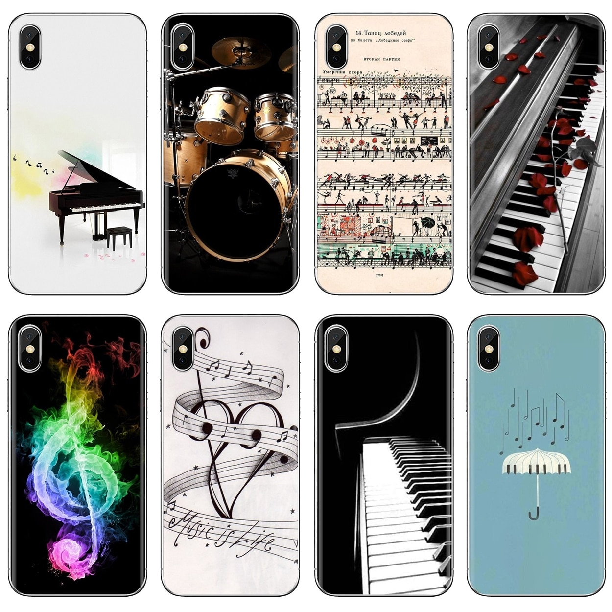 Nota musical de guitarra de Piano para Samsung Galaxy J1 J2 J3 J4 J5 J6 J7 J8 Plus 2018 Prime 2015 2016 2017 diseños europeos funda de teléfono de silicona