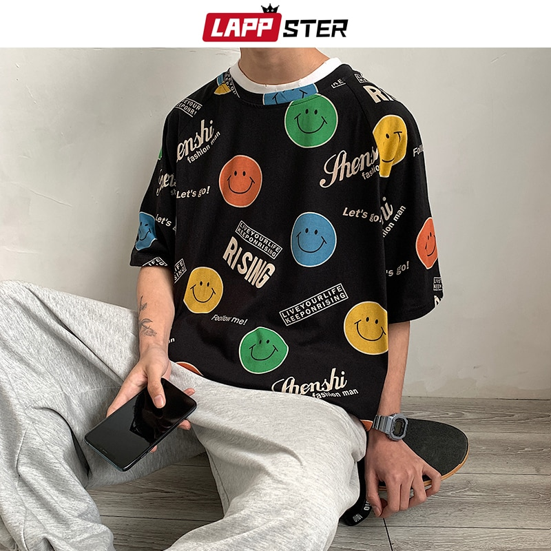 LAPPSTER Men Funny Smile T Shirt Summer 2020 Man Japanese Streetwear Fashions T Shirts Male Vintage Harajuku Loose Tops Tees 5XL