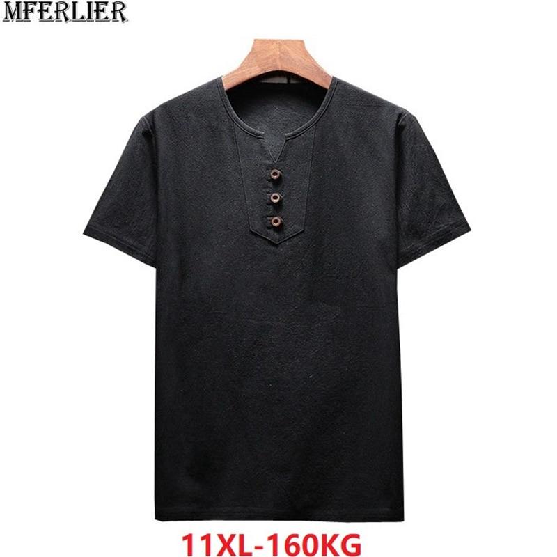 Verano hombres Lino algodón camisetas de manga corta estilo chino vintage cuello pico camisetas de talla grande 6XL 9XL 10XL 8XL negro de talla grande caqui