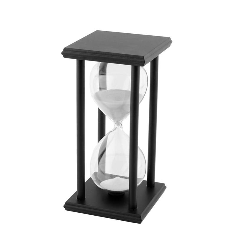 60Min Black Wooden White Sand Sandglass Hourglass Clock Timer Home Decor