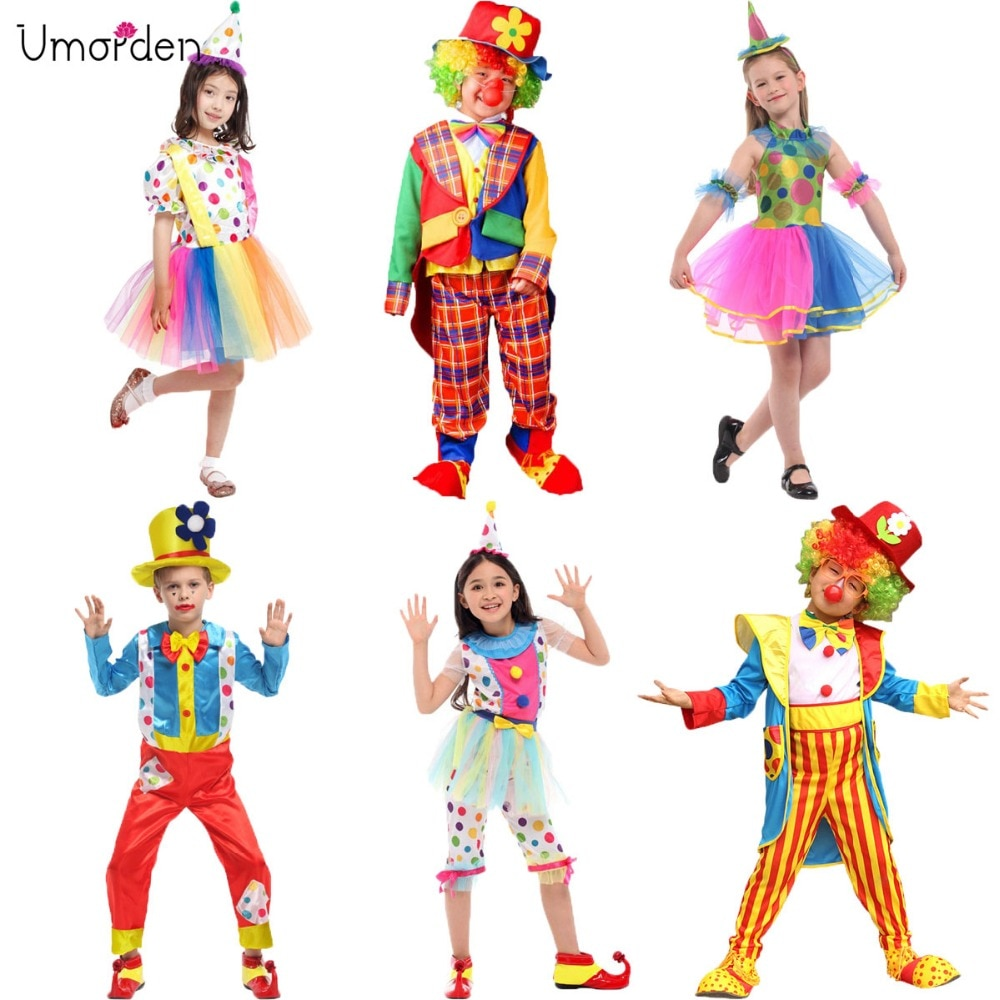 Umorden Halloween Costumes Kids Children Big Top Circus Clown Costume Naughty Fancy Fantasia Infantil Cosplay for Boys Girls halloween purim costumes for kids girls carnival the king prince costume for boy boys children fantasia infantil cosplay child