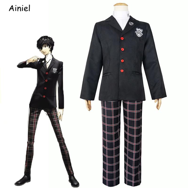 Juego Persona 5 Coaplay Ren Amamiya Disfraz camisa abrigo pantalones Akira Kurusu...
