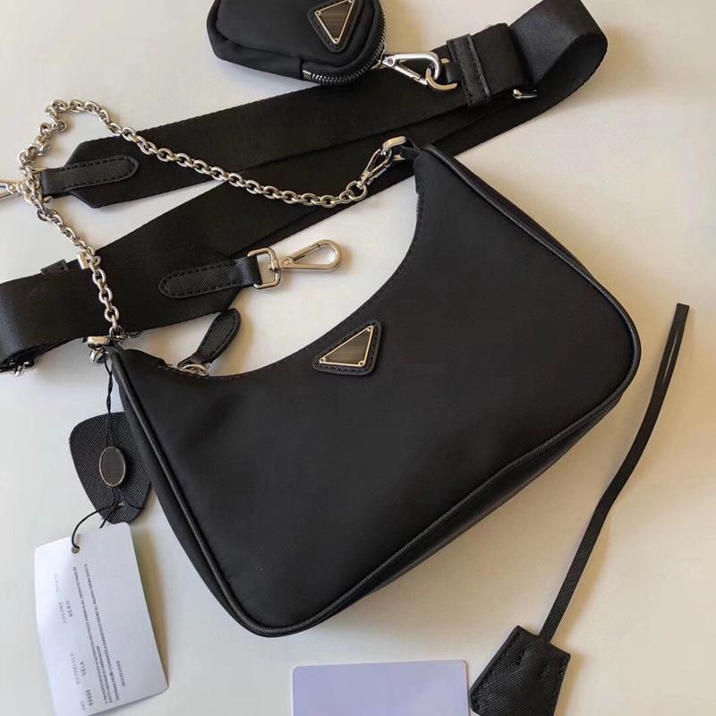 2021 Niu Three-in-One Underarm Bag Hobo Nylon Cloth Portable Chain Handbag Fashion All-Match Shoulder Messenger Bag Female Hot